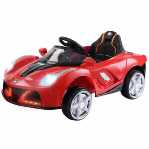 12V Battery Powered Kids Ride On Car RC Remote Control w/ LED Lights Music Red
