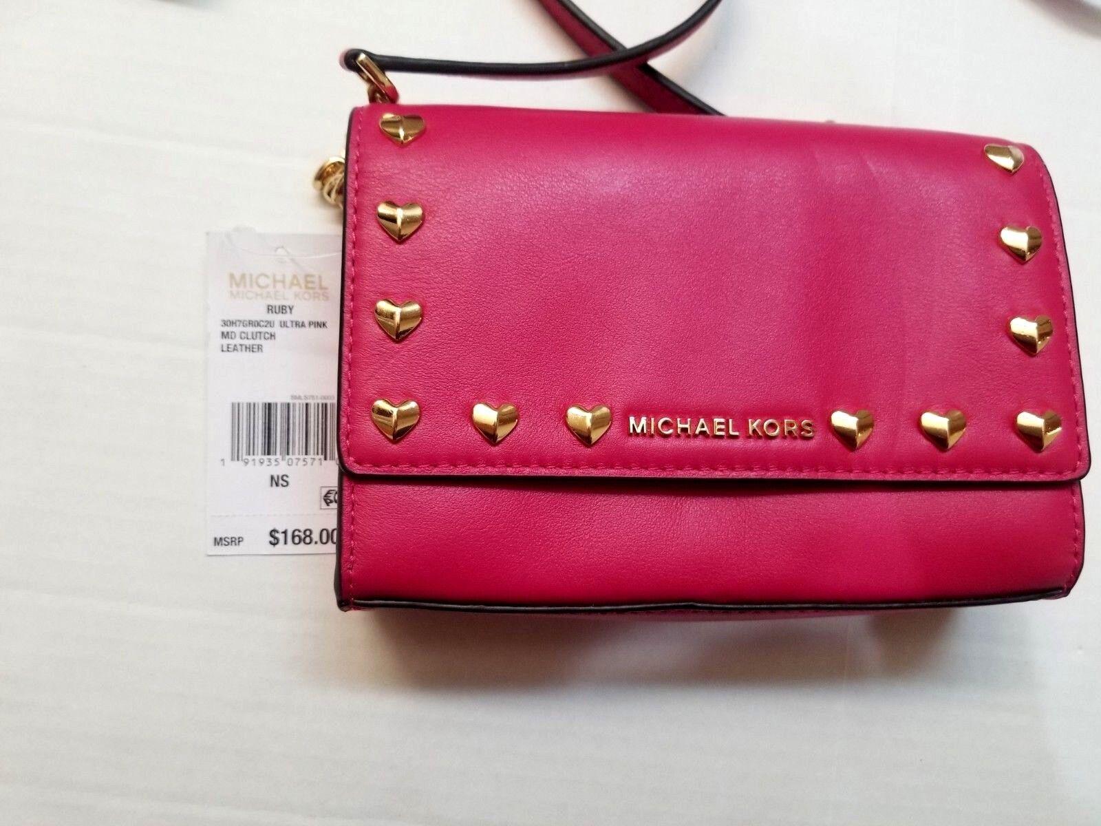 172ed7329047 Michael Kors Ruby Heart Stud Clutch Crossbody Bag Ultra Pink 30h7gr0c2u for  sale online