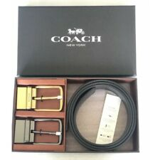 Dark Brown NWT Coach F55434 Men Boxed Wide Mix Harness Leather Belt Black