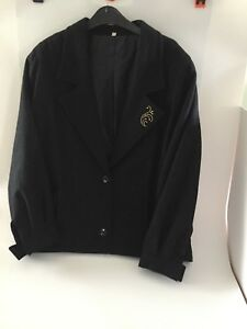 Ladies-Retro-Vintage-Blouson-Jacket-V-Neck-1980s-Button-Cuff-10