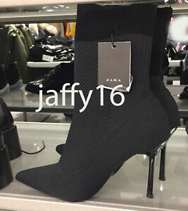 ZARA NEW STRETCH FABRIC HIGH HEEL ANKLE BOOTS BLACK ...