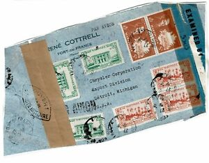 Martinique-1945-Censored-Airmail-Cover-Front-Only-see-notes-Lot-101717