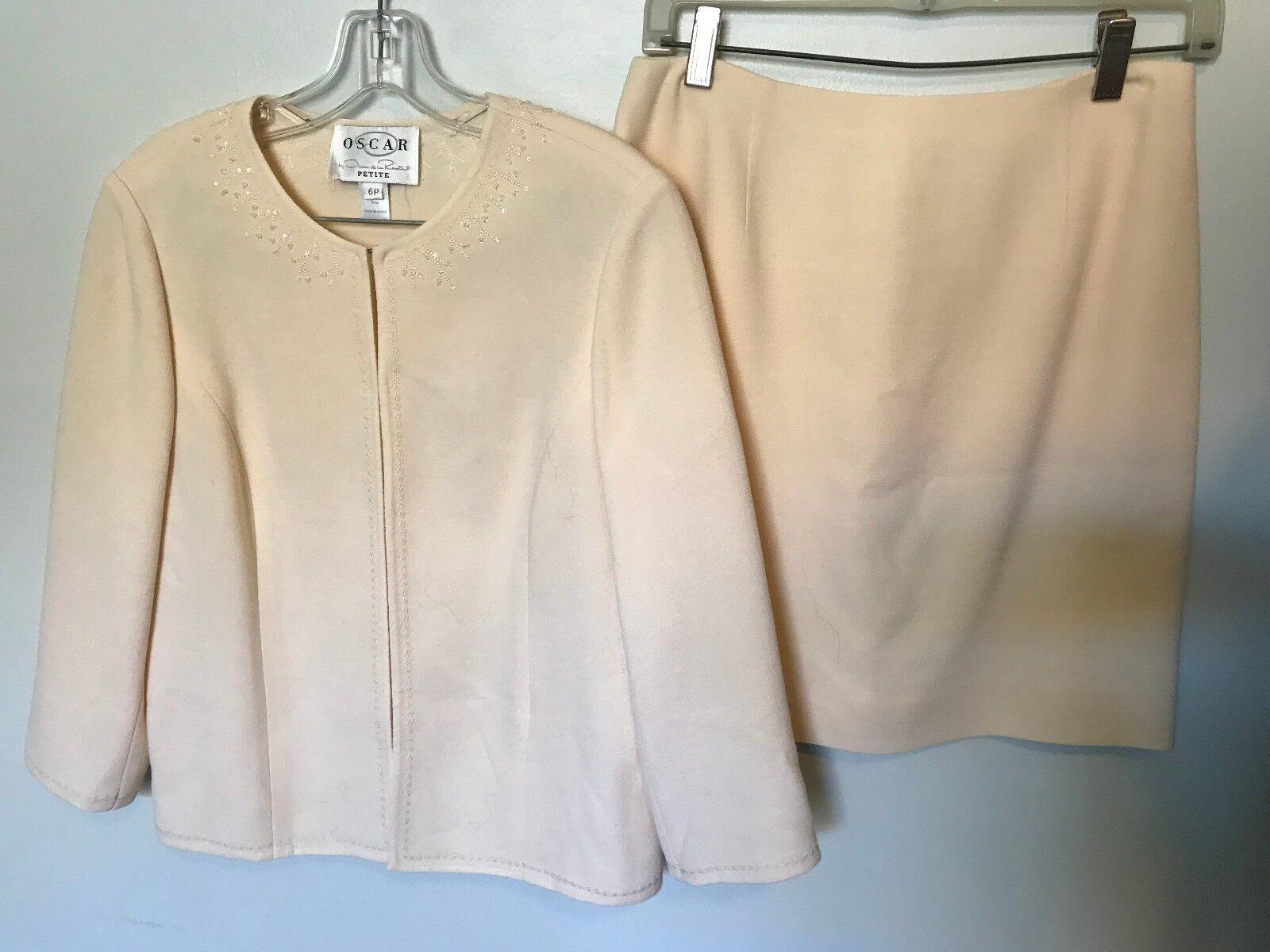 Oscar de la Renta Ivory Evening Skirt Suit - Size Petite S
