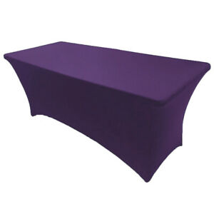 Details About 6 Ft Spandex Fitted Stretch Tablecloth Table Cover Wedding Banquet Purple