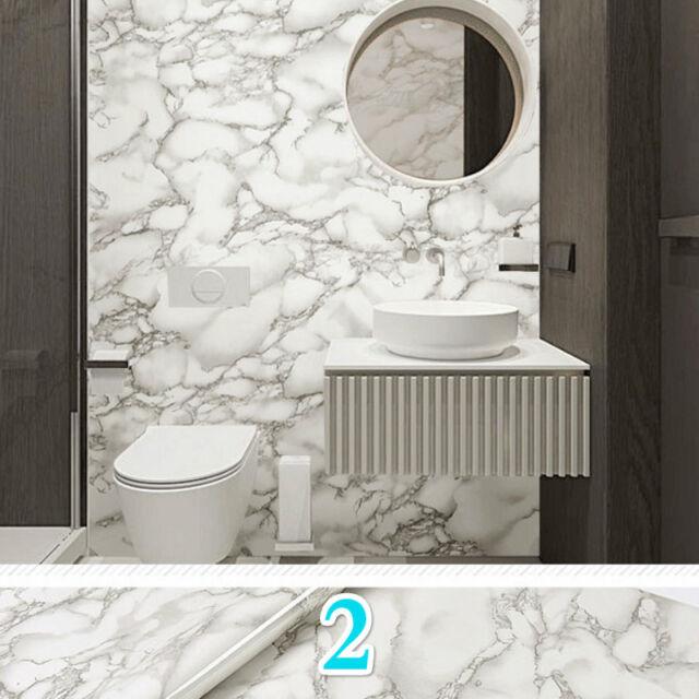 5M Marble Grain Wallpaper Self Adhesive PVC Waterproof Film Bathroom Arts Decor
