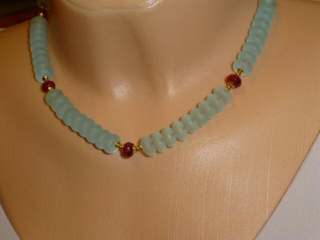 Halskette Collier Glasperlen Linsen aquamarinblau matt Rubinjade UNIKAT *G150111