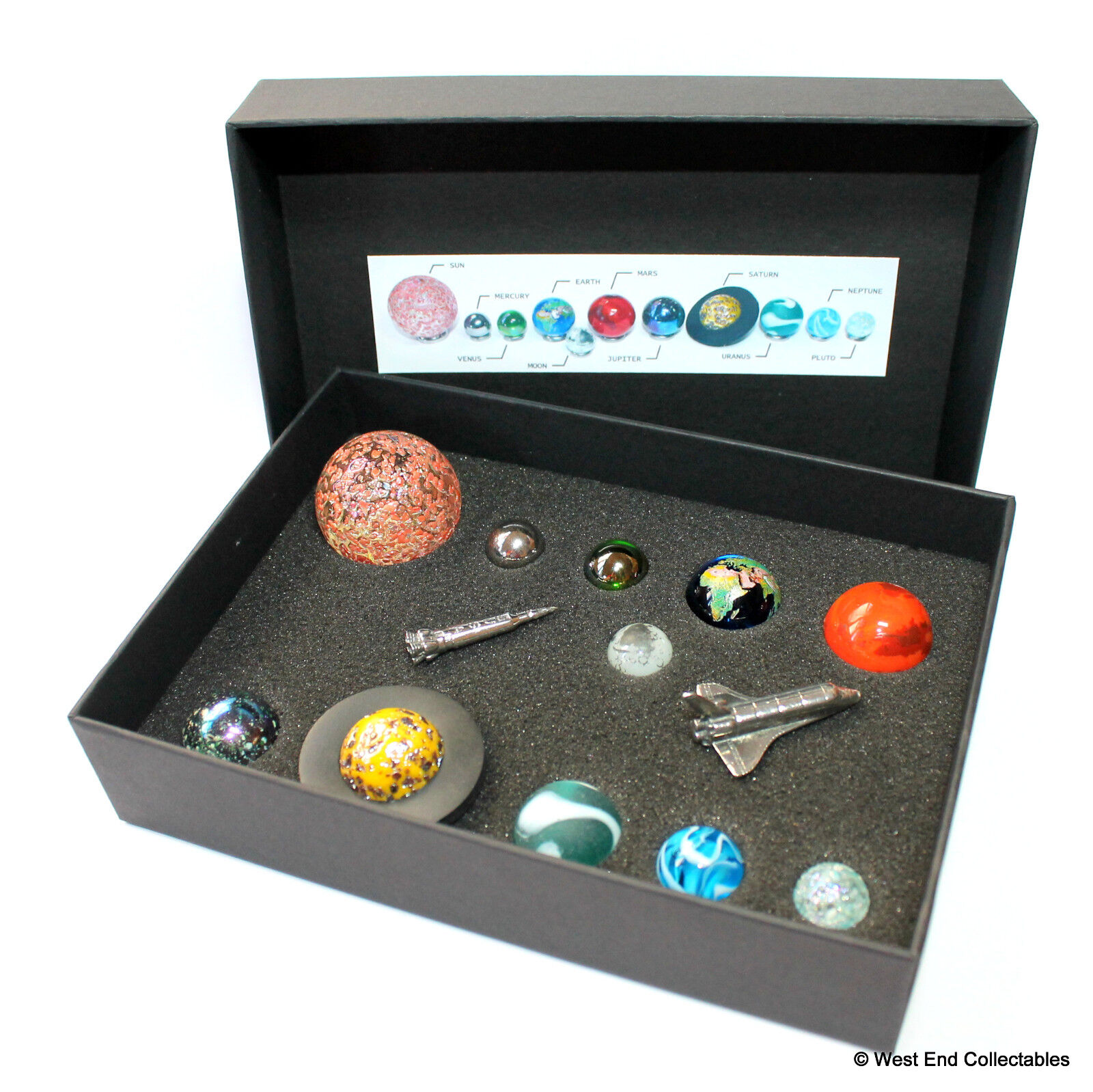 Solar System Model Orrery Ultimate Marble Collection Shuttle & Rocket - Planets