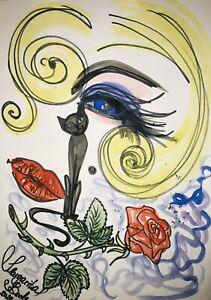 Margarita-Bonke-Malerei-PAINTING-Zeichnung-Marilyn-Monroe-Street-Art-Cat-Rosa-A3