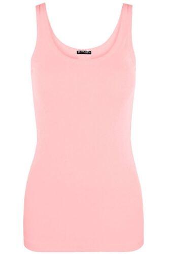 New Women Ladies Rib Vest Tops Plain Colors Camisole Stretch Stroppy Sizes 8-14