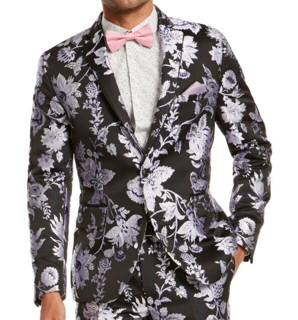 INC Mens Blazer Black Size 2XB Floral Metallic Jacquard Slim Fit $189 #201