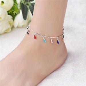 Diplomatique Fashion Multicolor Gouttelettes D'eau Perles Bracelet Bracelet Chaîne Pied Bijoux Cadeau-afficher Le Titre D'origine