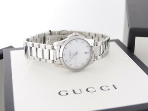 186e9141f61 NEW Gucci G-Timeless Mother-of-Pearl Diamond Women s Watch YA126542 ...