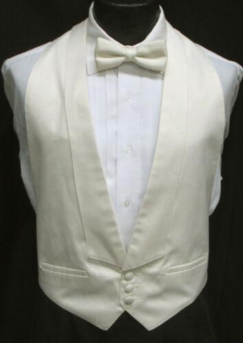 Boys Ivory Off-White Satin Open Back Backless Tuxedo Vest Wedding Ringbearer