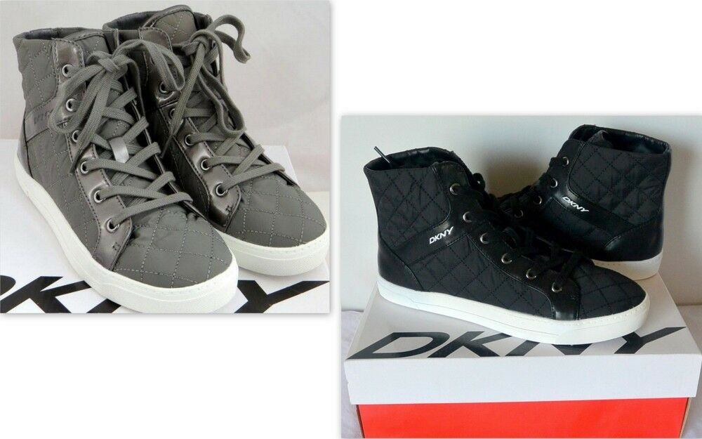 DKNY women Karan Women's Sigrid Quilted Hi Top Fashion Sneaker shoes, Size 9.5