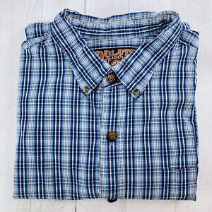 Duluth-Trading-Company-Mens-Long-Sleeve-Button-Down-Shirt-Blue-White-Plaid-2XL