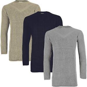 d4e49380b009 Mens Long Sleeve Crew Neck Pullover Longline Chunky Knit Raw Edges ...