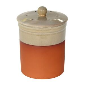 Details about Chetnole Terracotta Compost Caddy - Sand - Ceramic Kitchen  Compost Bin