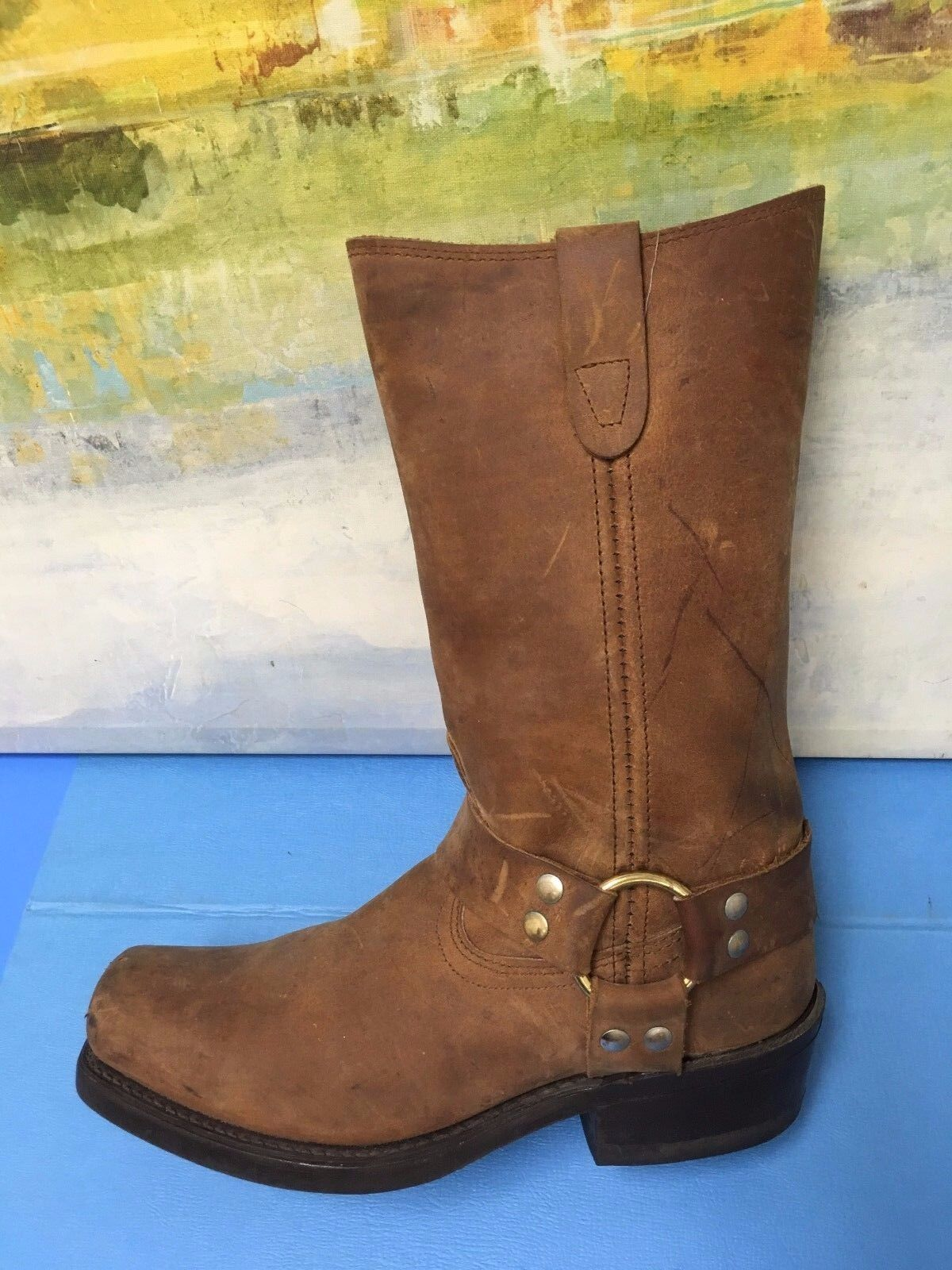 MENS UNBRANDED SQUARE TOE HARNESS MOTORCYCLE LEATHER BROWN BOOTS SIZE 7.5 D