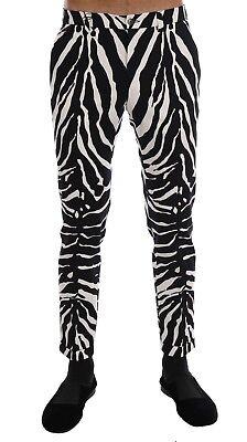 W38 NEW $780 DOLCE /& GABBANA Pants White Black Striped Cotton Slim Fit s IT54
