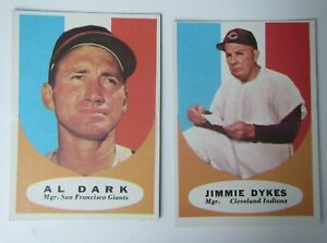 1961-TOPPS-Baseball-Cards-Managers-Al-Dark-220-Jimmie-Dykes-222