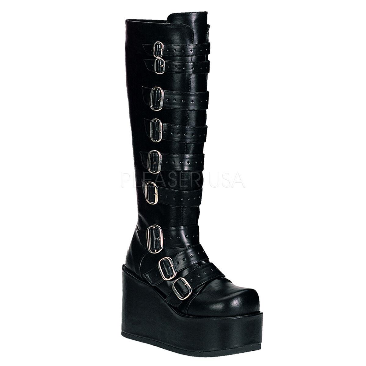 DEMONIA CONCORD-108 Women's Punk Gothic Black Buckle Strap Platform Knee Boots