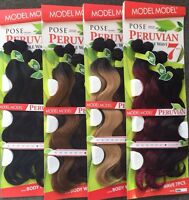 Model Model Pose Peruvian Body Wave 7pcs Human Hair Mastermix 161820 +closure