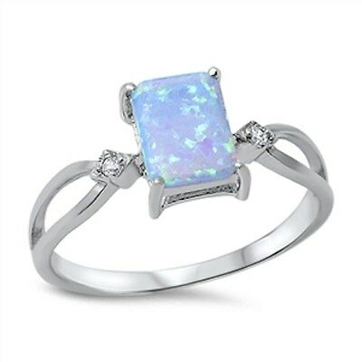 Light Blue Opal & Cubic Zirconia  .925 Sterling Silver Ring Sizes 4-10