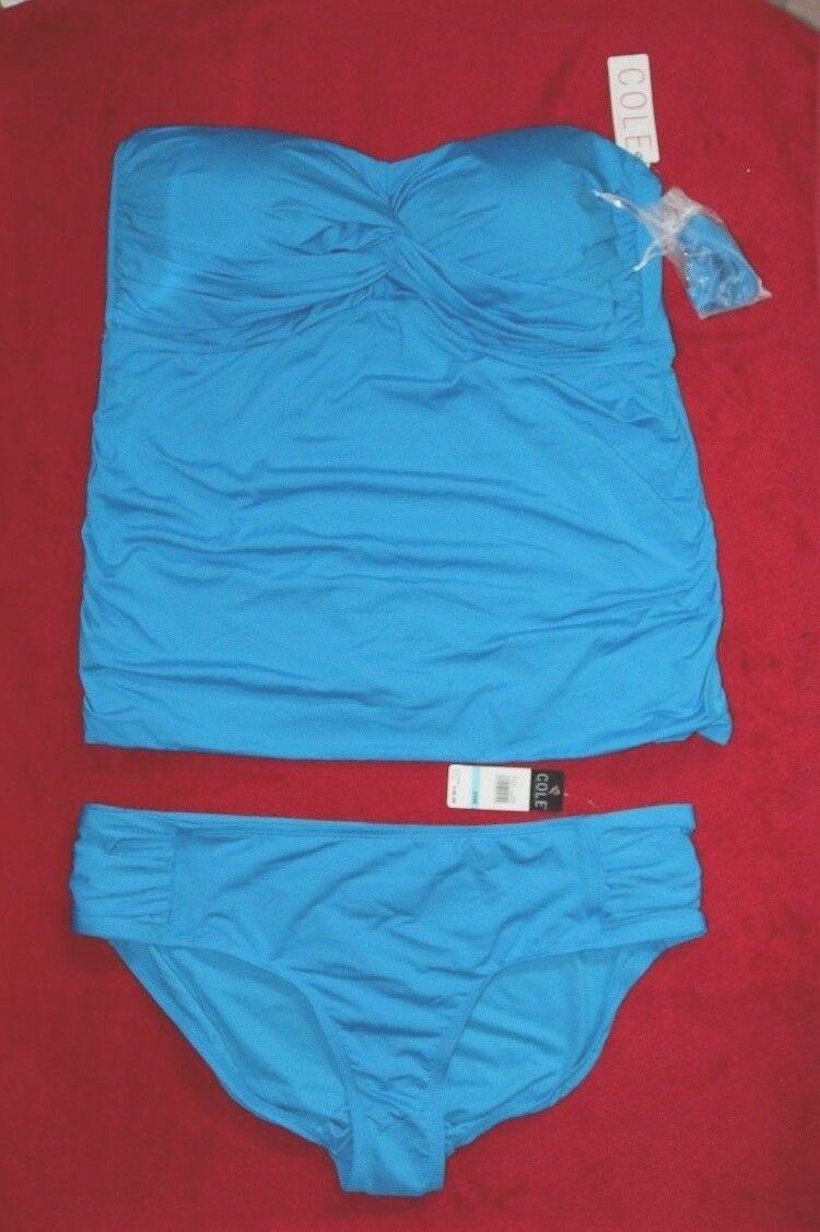 Cole of California Aqua Tankini Set size 20W Halter or Bandeau Style Rtl  100