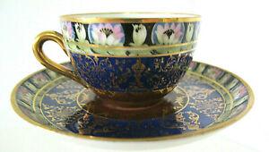 Beautiful Vintage Victorian Demitasse Porcelain Cup & Saucer Unfamiliar Hallmark