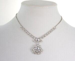 93ecbf99e777c Details about Vintage Art Deco 10k White Gold-Filled Open Back Crystal  Necklace Bridal Wedding