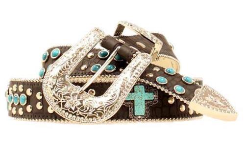 Blazin Roxx Western Womens Belt Gator Cross Black Turquoise N3516001