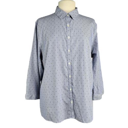 Lands' End Women 18 No Iron Top Fitted Cotton Stri