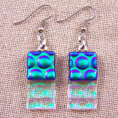 DICHROIC Glass EARRINGS Emerald Green Clear Rectangle Bubbles Dangle Surgical 1""