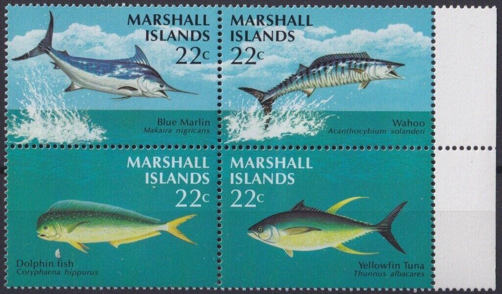 F-EX20477 MARSHALL IS MNH 1986 SEA MARINE WILDLIFE FISH PECES TUNA BLUE...