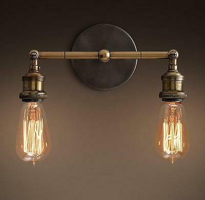 MODERN VINTAGE INDUSTRIAL LOFT METAL DOUBLE GLASS RUSTIC SCONCE WALL LIGHT 05 B2