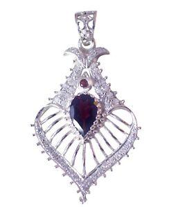 angenehmes-Granat-925-Sterling-Silber-rot-Anhaenger-echtes-Indien-de-Geschenk