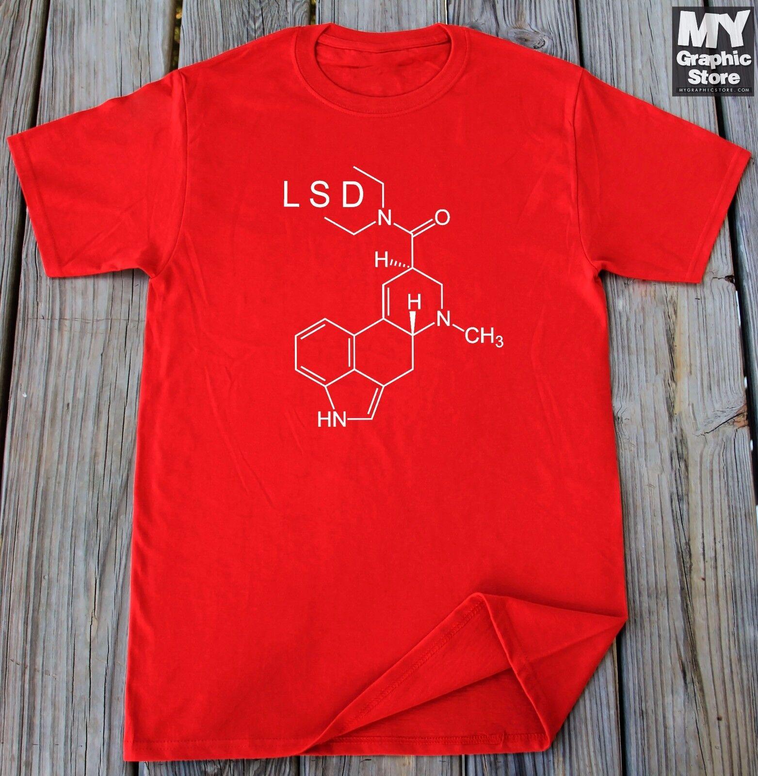 Unisex LSD Molecule Acid Psychedelics T Shirt Cotton Short Sleeve Casual Top
