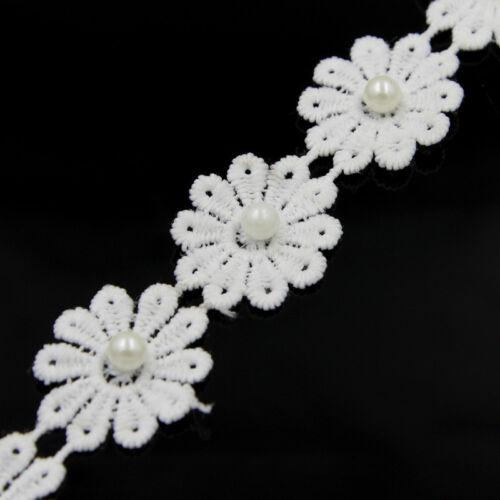 3 Yards Vintage Beads Flower Lace Trim Wedding Ribbon Applique Sewing Craft DIY