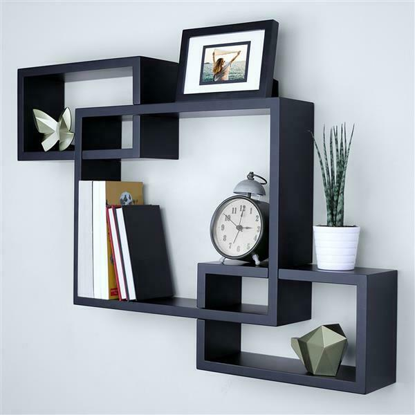 3 Cubes Intersecting Boxes Wall Shelf Home Deco Storage Wall Mount Shelves Black For Sale Online Ebay