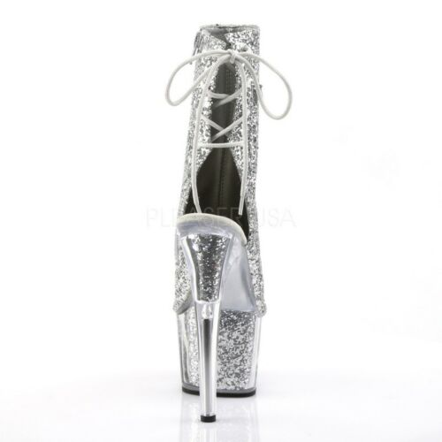 1018g Glamour Extrem Stiefelette Tabledance Plateau Adore Glitter Pleaser Silber 35qj4cARSL