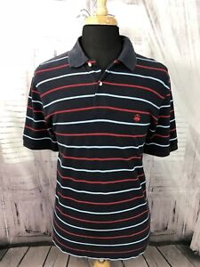 Brooks-Brothers-Mens-346-Polo-Shirt-Short-Sleeve-Striped-Blue-Red-Sz-Large