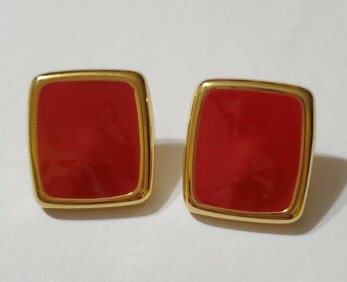 Monet Red Enamel Stud Earrings  - image 1