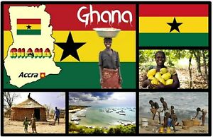 GHANA MAP & FLAG, WEST AFRICA - SOUVENIR NOVELTY FRIDGE MAGNET - NEW / GIFTS