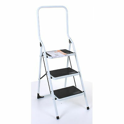 3 Step Foldable Ladder Non Slip Mat Heavy Duty Tread Safety Stepladder Strong