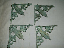 Set/4 Aged Bronze Green Cast Iron French Fleur De Lis Tuscan Wall Shelf Brackets