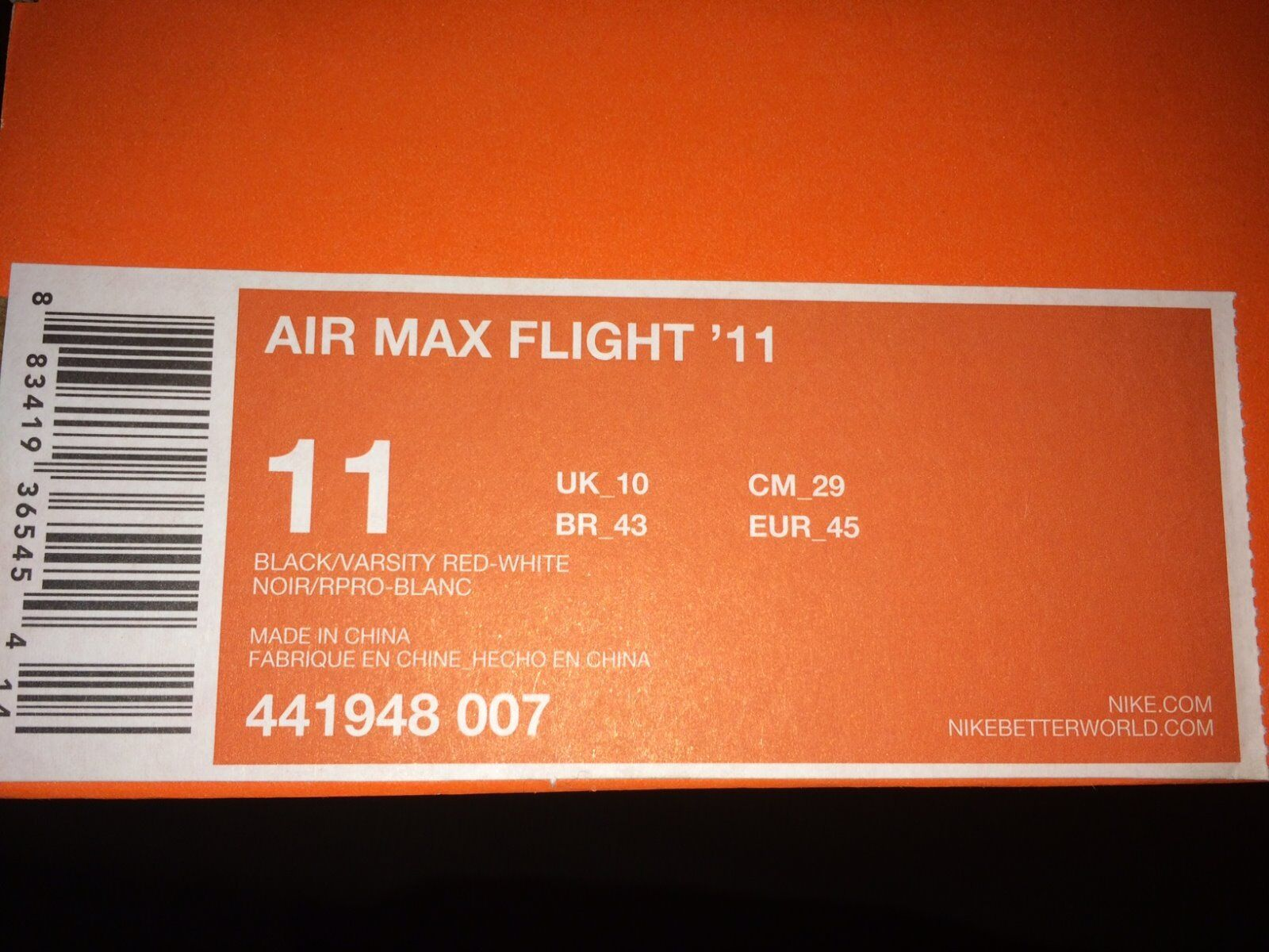 Nike AirMax Flight 11 Sz Men-US 11 Mid Red Black Sneakers Shoes Vintage Preowned