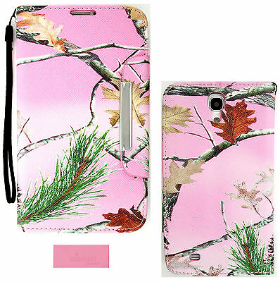 Pink Camo Mossy Wallet Folio Case purse for Samsung Galaxy Mega 6.3