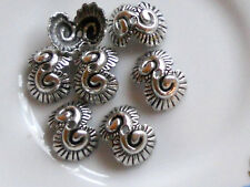 #773 Vintage Filigree Bead Caps 13mm Antique Silver Artsy Art Nouveau Cone Deco