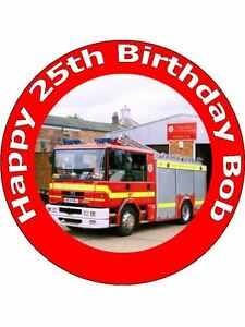 Pleasant 7 5 Fireman Fire Engine Birthday Cake Toppers Personalised On Personalised Birthday Cards Arneslily Jamesorg