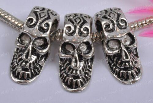 10pcs Tibet silver Skull bracelet charm spacer beads JK0879